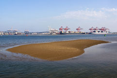 Durban Harbor in South Africa at Low Tide royalty free stock photos