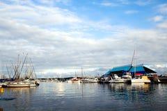 Durban harbor at sunset royalty free stock photo