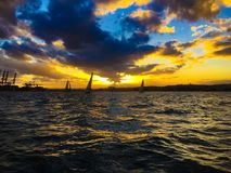 Durban harbor sunset royalty free stock images