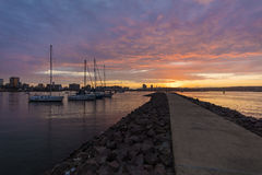 Durban Harbour South Africa. Sunrise shot of Durban Harbour South Africa Stock Photo