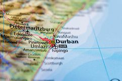 Durban on map. Close up shot of Durban.  is the largest city in the South African province of KwaZulu-Natal Stock Photos