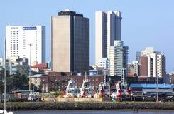 Durban miasta linia horyzontu i Morski Mueseum Od schronienia Obraz Stock