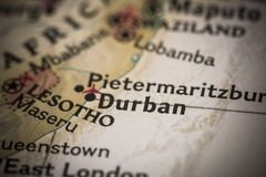 Durban na mapie Fotografia Royalty Free