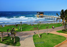 Durban Peer restaurant view. View of Durban peer restaurant, ocean and beach area Stock Image