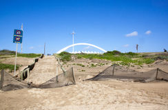 Durban's Moses Mabhida Stadium Arch with Dune Rehabilitation in Royalty Free Stock Images