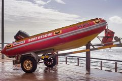 Rescue boat at the seaside. stock photos