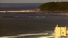 Archival panorama of Durban waterfront stock video footage