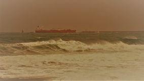 Durban South Africa ship in sea waves Stock Image
