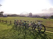 Durban stadium bicycles moses mabhida Stock Images