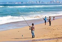 Durban Sydafrika fiske på La Lucia Beach Fotografering för Bildbyråer