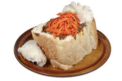 Durban Traditional Mutton Bunny Chow with Carrot Sambal Royalty Free Stock Photography