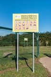 Information board at the entrance to Majik Forest in Durbanville. DURBANVILLE, SOUTH AFRICA, AUGUST 11, 2018: An information board at the lower entrance to Majik royalty free stock image