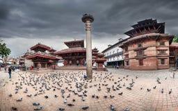 Durbar广场全景在加德满都 免版税库存图片