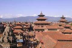 durbar nepal patan squarein Royaltyfria Bilder
