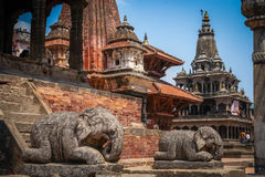 Durbar Sqare. Stone elephants sculptures on the Durbar square in Kathmandu, the captial city of Nepal Stock Images