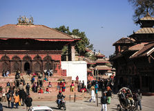 Durbar square in Kathmandu,Shiva-Parvati Temple ,nepal. Many people in front of Shiva-Parvati Temple in durbar square stock photos