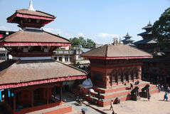 Durbar square in Kathmandu. Temples and people in Durbar square in Kathmandu , Nepal Stock Photos