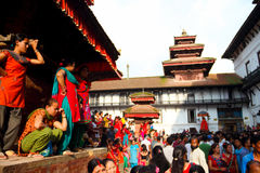 Durbar Square of Kathmandu in the festival. Nepal calendar on the third day of may, that is, the Gregorian calendar in August - September, Nepali women see this Stock Photo