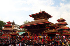 Durbar Square of Kathmandu in the festival. Nepal calendar on the third day of may, that is, the Gregorian calendar in August - September, Nepali women see this Royalty Free Stock Image