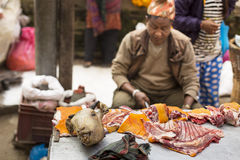 DURBAR SQUARE, KATHMANDU, NEPAL - NOVEMBER 29, 2014: Man selling Stock Photography