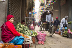 DURBAR SQUARE, KATHMANDU, NEPAL - NOVEMBER 28, 2014: Unkown woma Stock Photo