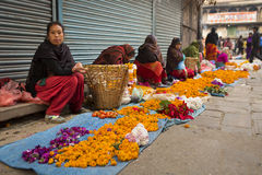 DURBAR SQUARE, KATHMANDU, NEPAL - NOVEMBER 28, 2014: Woman selli Stock Photo