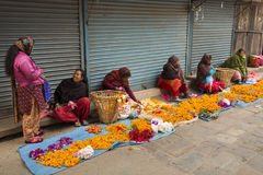 DURBAR SQUARE, KATHMANDU, NEPAL - NOVEMBER 28, 2014: Woman selli Stock Images