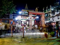 Durbar Square Kathmandu at night Stock Photos