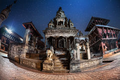 Durbar square at night in Bhaktapur Stock Photo