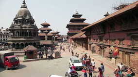 Durbar square in Patan. PATAN SQUARE, NEPAL - APRIL 4, 2014: View to the croedy touristic place of Durbar Square one of the famous place around Kathmandu stock video footage