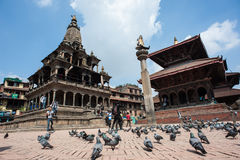 The Durbar square of Patan Royal city. Nepal. KATHMANDU - SEPT 28: The very popular Durbar square of Patan, one of the three royal cities part of the Unesco royalty free stock images