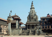 Durbar Square with Vatsala Temple -Bhaktapur-Nepal. Durbar Square with Vatsala Durga Temple and bronze bell known as the bell-of barking dogs - The Palace of royalty free stock image