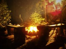 Durch den Kamin in Algoma stockfotos