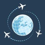 Durch Lufttransport auf der ganzen Welt reisen stock abbildung