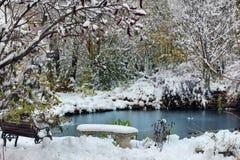 Durch See im Schnee Lizenzfreie Stockbilder