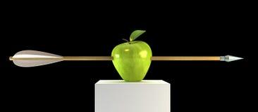 Durchbohrter Apfel Stockfoto