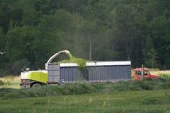 Durchbrennenheu der Bauernhofmaschinerie in halb LKW. Stockfoto