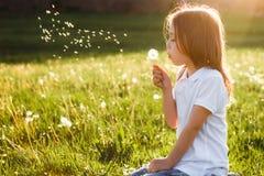 Durchbrennenlöwenzahn des kleinen Mädchens lizenzfreies stockbild