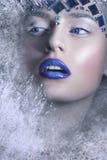 Durchbrennenschnee der jungen, schönen Frau in Richtung zur Kamera auf Winterhintergrund Schnee-Königin, kreatives Nahaufnahmepor Lizenzfreie Stockbilder