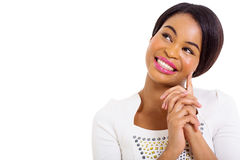 Durchdachte Afroamerikanerfrau Lizenzfreies Stockbild