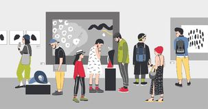 Durchdachte Besucher von Galerie-Betrachtungsausstellungen der zeitgenössischen Kunst Nachdenkliche Leute kleideten in der stilvo Stockbilder