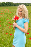 Durchdachte blonde Frau Stockfotos