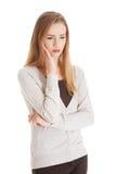 Durchdachte Frau hat ein großes Problem Stockfoto