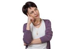 Durchdachte Frau mit dem kurzen Haar Stockbilder