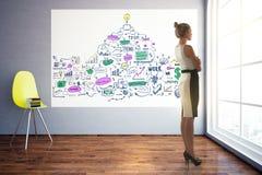 Durchdachte Frau mit Geschäftsskizze Lizenzfreies Stockfoto