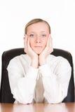 Durchdachte Geschäftsfrau Stockbild