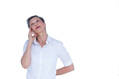 Durchdachte Geschäftsfrau, die weg schaut Lizenzfreie Stockfotos