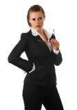 Durchdachte moderne Geschäftsfrau mit Gläsern Lizenzfreie Stockbilder