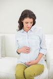 Durchdachte schwangere braune behaarte Frau, die ihren Bauch hält stockfotos