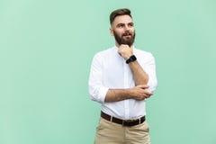 Durchdachter bärtiger Geschäftsmann, der bei der Stellung gegen hellgrüne Wand weg schaut Lizenzfreies Stockfoto